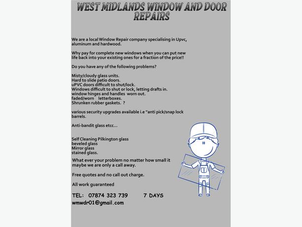 Window Repair, Double glazing, uPvc , Locks Hinges Handles, Glass repair etc