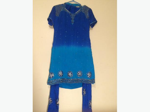 blue 3pc asian suit
