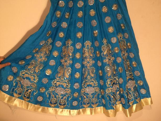 blue and gold asian 2pc frock