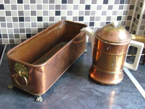 BRASS COFFEE POT HOLDER & PLANTER