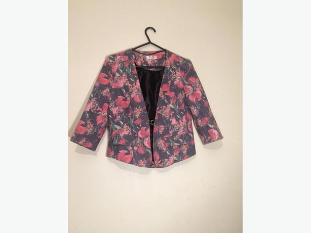 floral pink and black waistcoat