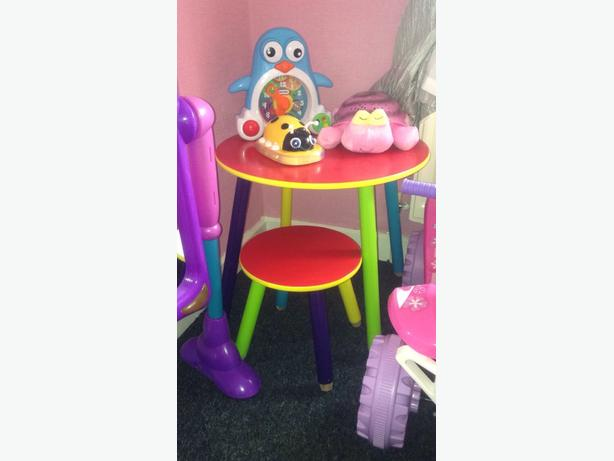 childrens table and chair.