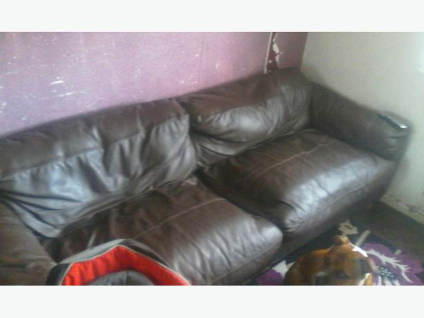 FREE: big 3/4 seater leather sofa and chair