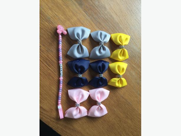 hair bows, dummy clips, pram charms, socks, keyrings