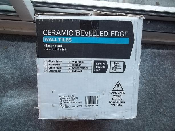 BLACK METRO BEVEL EDGE TILES - QUANTITY 50