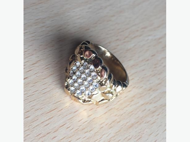 18CT GOLD PLATED & AAA+ CLASS ZIRC DIAMOND NUGGET RING