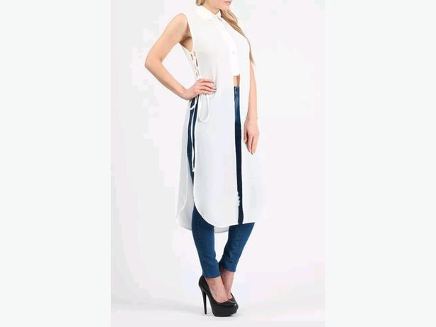 ladies cropped long shirt