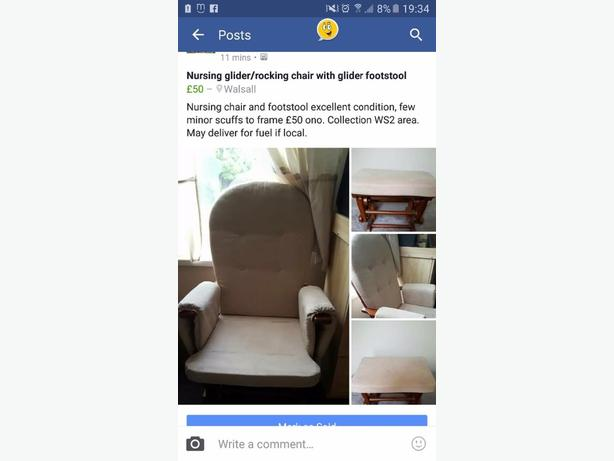 glidder rocking chair with footstool