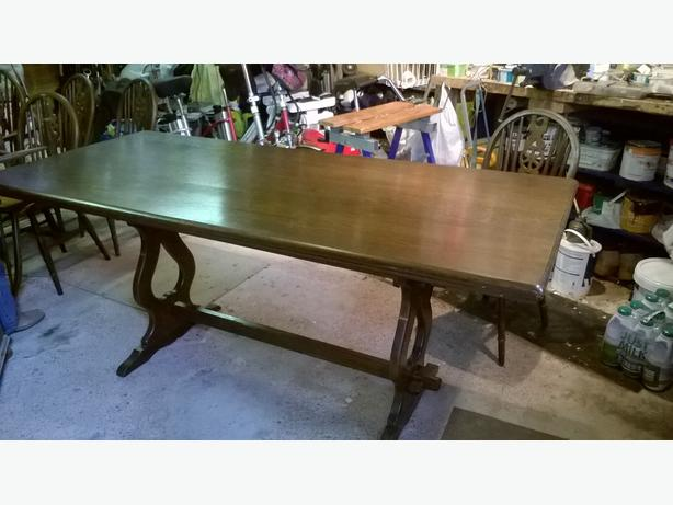 Large dining room table with Windsor chairs