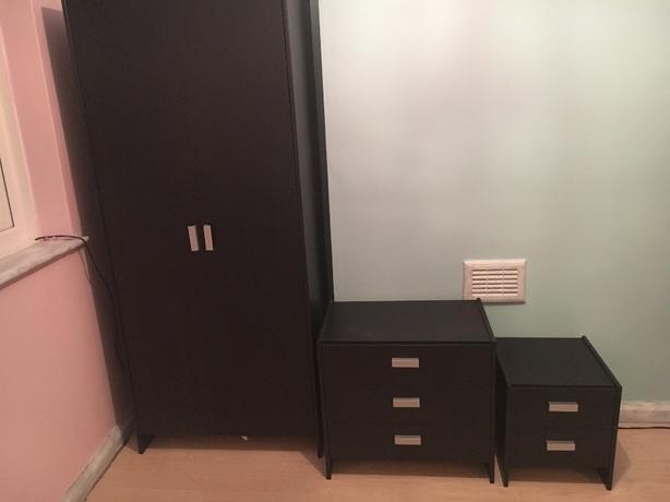 Black wardrobe chest of drawers and small bed side drawers Short wardrobe with drawers