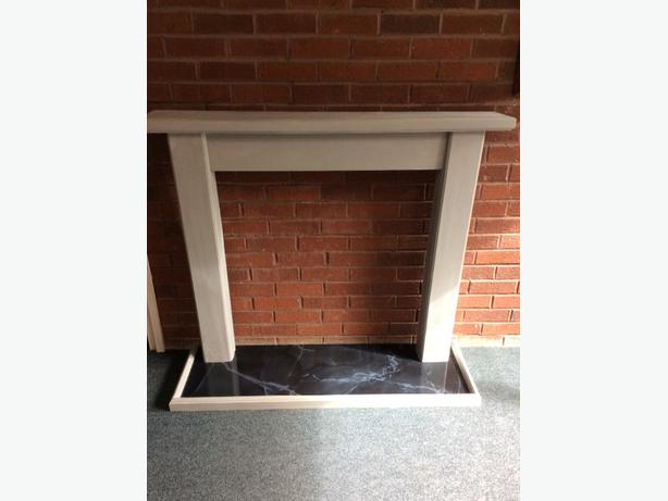chalkpainted firesurround and marble effect hearth
