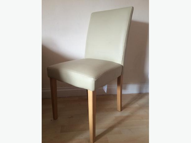 4 cream leather dining chairs