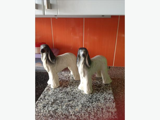 Pair of afghan hound ornaments