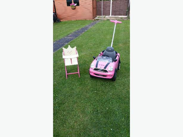 mini cooper and dolls high chair