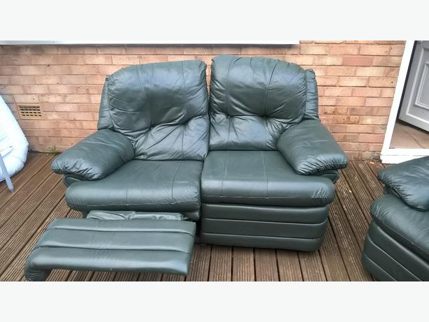 green leather 2 seater recliner and 2 reclining chairs