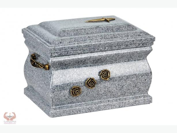 Granite Casket Cremation Ashes Urn For Adult With Brass Roses