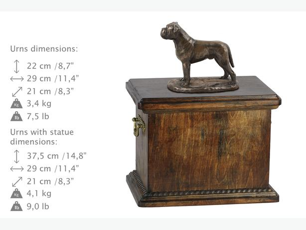 Solid Wood Casket Bullmastiff Urn for Dog's ashes,with Dog statue