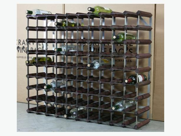 Cranville 90 Bottle Wine Rack in Dark Oak Stained Pine