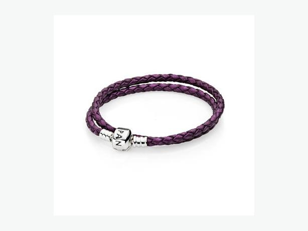 Dark purple double leather pandora bracelet