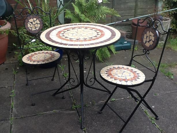 Mosaic garden table and two chairs