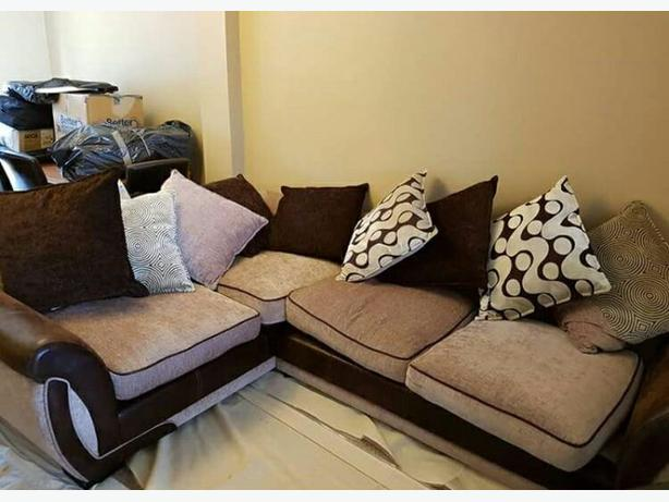 Brown and cream corner sofa for sale dudley dudley for Tan couches for sale