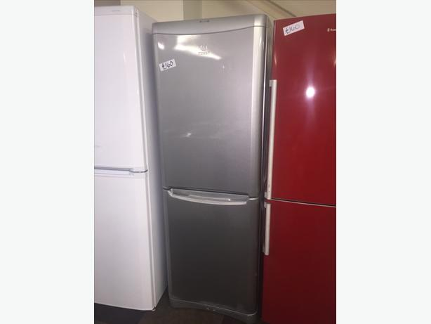 INDESIT TALL FRIDGE FREEZER IN SILVER GREAT CONDITION WITH GUARANTEE
