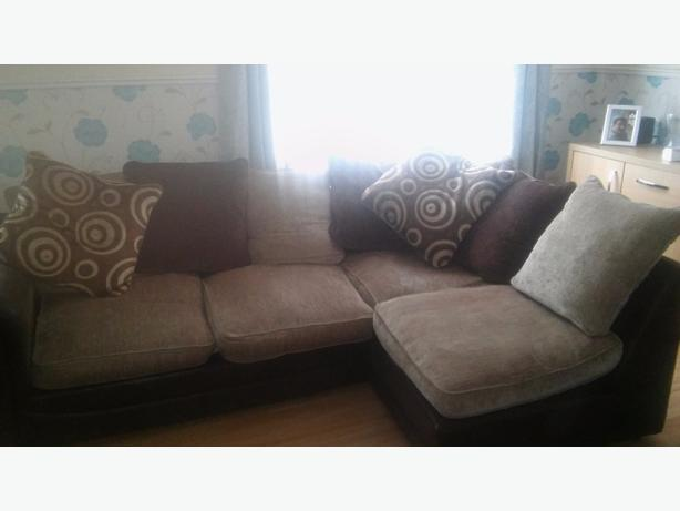 corner sofa with armchair and foot stool