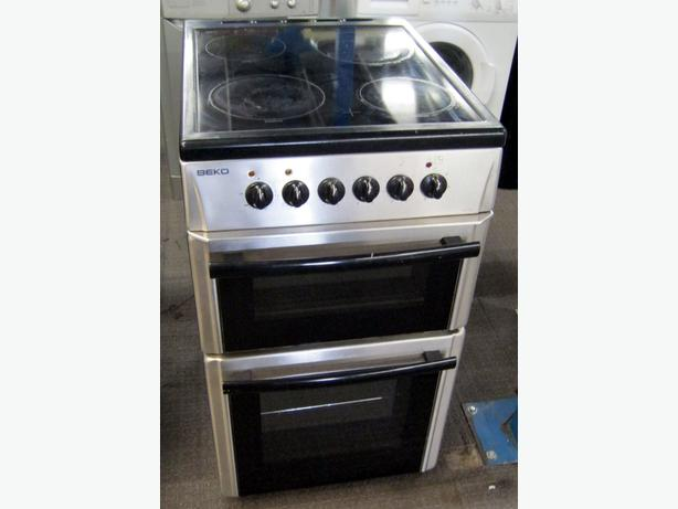 Beko 50cm Silver Electric Cooker, Ceramic Hob, Fan Oven, 6 Month Warranty