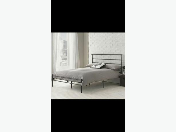 black metal double bed frame and new mattress
