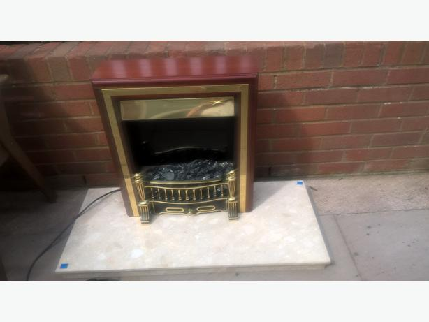 marble hearth and electric fire