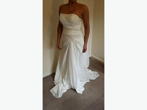A line, ivory, lace up wedding dress