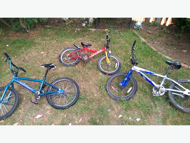 2x bmx and 1 kids mountain bike