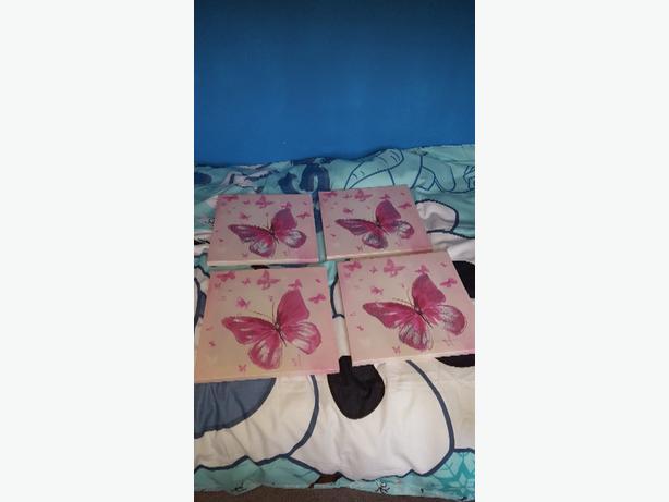 4 x pink canvas pics