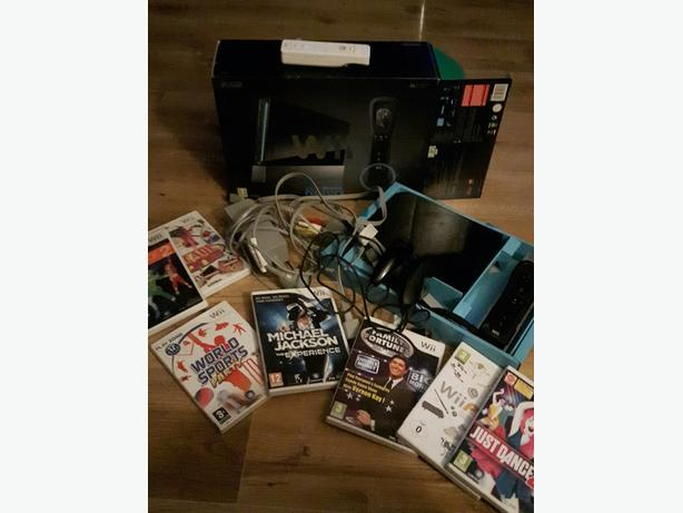 wii console black + 7 games