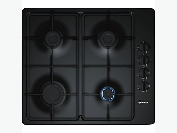 Neff 4 Burner Black Gas Hob, Cast Iron Look. With Lpg and fitting kit.
