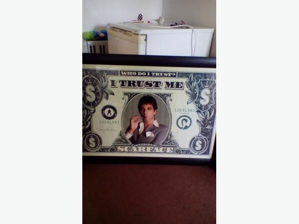 framed scarface dollar note