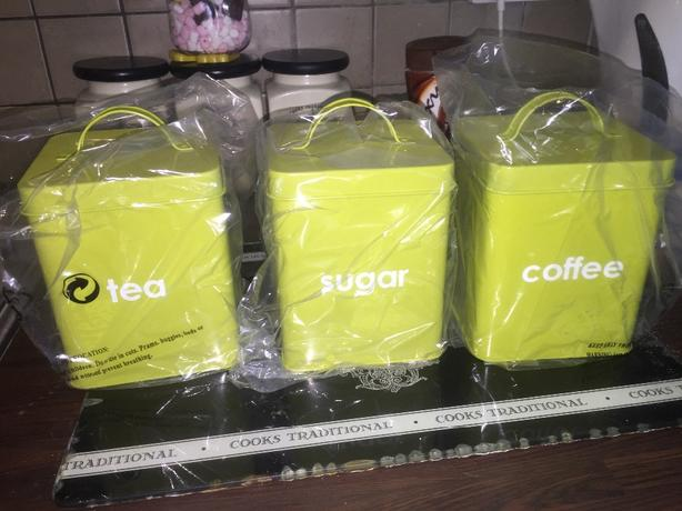 tea coffee sugar tins brand new