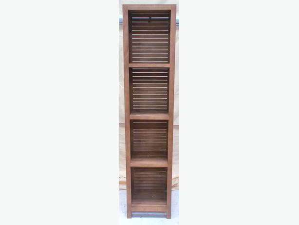 Wooden Slatted Tall Bathroom Cabinet