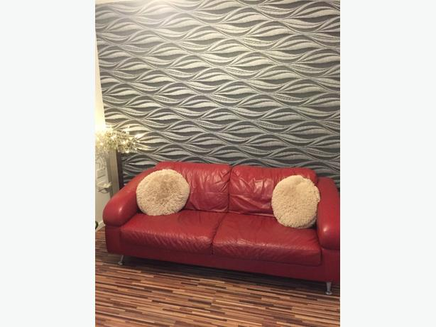 DFS RED LEATHER 3 PIECE SUITE £250