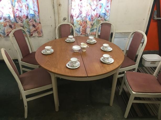 shabby chic round table and six chairs