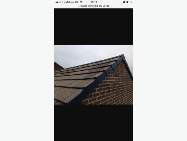 Fascia , soffit , guttering. Dry verge