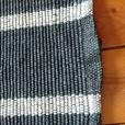 VINTAGE 50/60S HEAVY DUTY BLACK WHITE STRIPES INTERWOVEN KITCHEN HALLWAY RUG