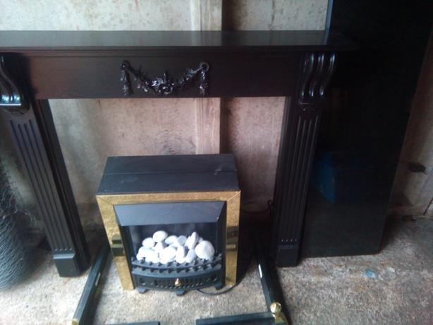 Black Fire Surround, Marble Hearth, Electric Fire