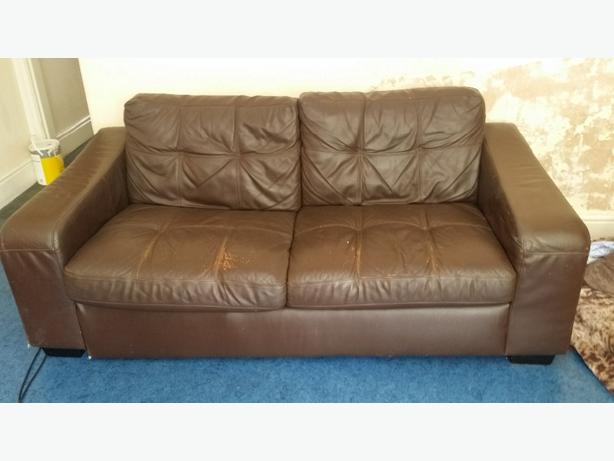 FREE: BROWN LEATHER SOFA FREE