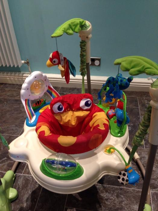 Fisher price rainforest jumperoo doorway baby bouncer for Door jumperoo