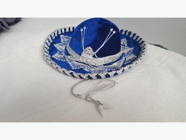 Authentic Mexican Children Sombrero Blue Velvet