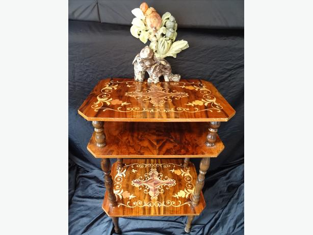 French Rococo Marquetry Burr Walnut 3 Tier Occasional Table