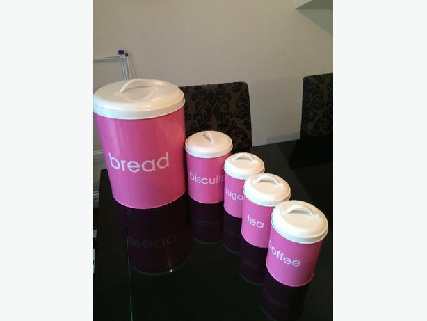 pink kettle, toaster, tea, coffee, sugar, bread & biscuit tin