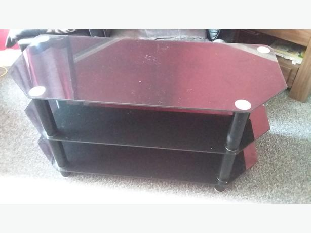 3 shelf black glass tv stand