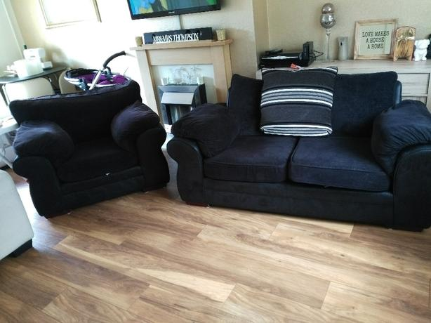 large 2 seater and armchair